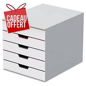 Module de classement Durable Varicolor - 5 tiroirs - blanc/multi-couleurs