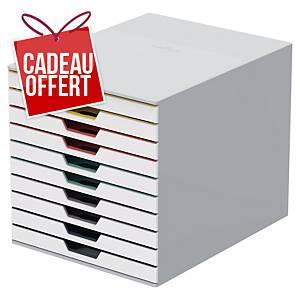 Module de classement Durable Varicolor - 10 tiroirs - blanc/multi-couleurs