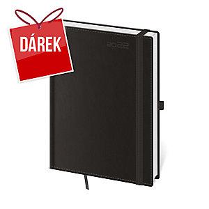 Diář denní A5  Double Black s poutkem na pero, 14,3 x 20,5 cm, 352 stran