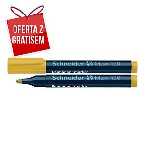 Marker permanentny SCHNEIDER Maxx 130 żółty, 10 sztuk*