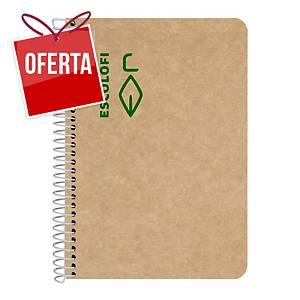 Caderno espiral reciclado Escolofi - A5 - 100 folhas - 5x5 - kraft