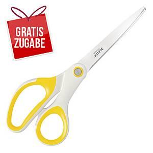 Schere Leitz 5319 WOW, Länge: 20,5 cm, Stahl, ergonomischer Griff, gelb metallic