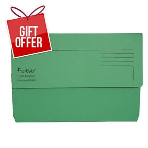 EXACOMPTA Forever Document Wallets 290gsm A4+ Green - Pack Of 25