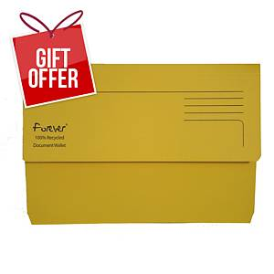 EXACOMPTA Forever Document Wallets 290gsm A4+ Yellow - Pack Of 25