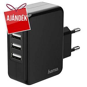 Hama hálózati töltő, 4 x USB-A, 5 V/4,8 A, fekete