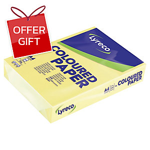 LYRECO PASTEL TINTED YELLOW A4 PAPER 80GSM - PACK OF 1 REAM (500 SHEETS)