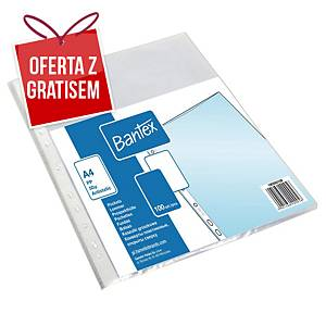 Koszulki groszkowe BANTEX, A4, 50 mikronów, 100 sztuk