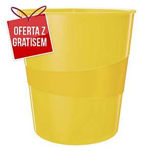Kosz na śmieci LEITZ WOW, żółty, pojemność 15 l