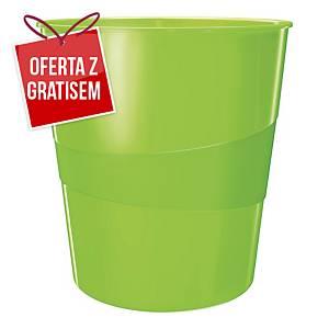 Kosz na śmieci LEITZ WOW, zielony, pojemność 15 l