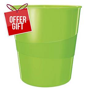 LEITZ WOW WASTE BIN 15L GREEN