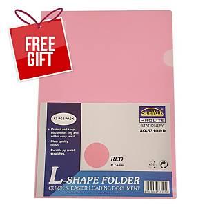 Suremark L-shape Folder A4 0.18mm Red - Pack of 12