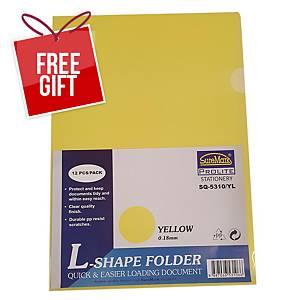 Suremark L-shape Folder A4 0.18mm Yellow - Pack of 12