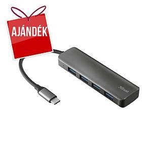 Trust Halyx Aluminium USB-C 4 portos elosztó USB-A