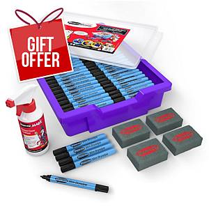Show-me Black Drywipe Pens, Fine Tip in Gratnells Tray