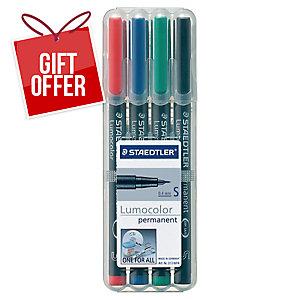 Staedtler Lumocolor Permanent Pens Super Fine Assorted Colours - Box Of 4