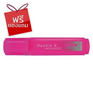 Double A ปากกาเน้นข้อความ รุ่นFlatสีชมพูนีออน