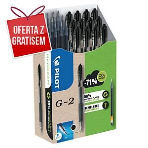 Długopis żelowy PILOT G-2, Greenpack 12 długopisów + 12 wkładów, czarny