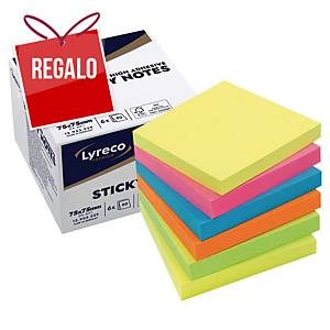 Pack de 6 blocks de 90 notas adhesivas Lyreco Premium - summer - 75 x 75 mm