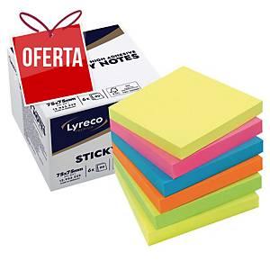 Pack de 6 blocos de 90 notas adesivas Lyreco Premium - summer - 75 x 75 mm