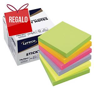 Pack de 6 blocks de 90 notas adhesivas Lyreco Premium - spring - 75 x 75 mm