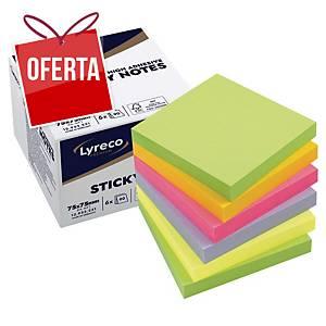 Pack de 6 blocos de 90 notas adesivas Lyreco Premium - spring - 75 x 75 mm