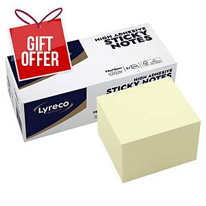 Lyreco Premium Sticky Cube 75x75 Yellow - Pack of 2