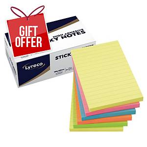 Lyreco Premium Sticky Notes 100x150 Ruled Summer Colour - Pack of 6