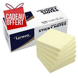 Notes repositionnables Lyreco Premium - 75 x 75 mm - jaunes - 12 x 90 feuilles