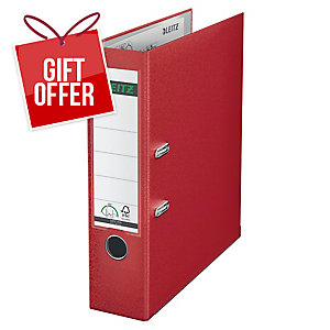 Leitz 180° Polypropylene A4 , 80mm Spine, Lever Arch File Red