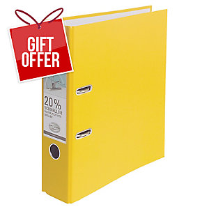 Leitz 180° Polypropylene A4 , 80mm Spine, Lever Arch File Yellow