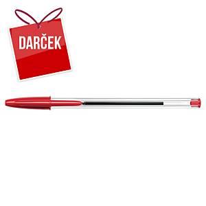 Guľôčkové pero Bic Cristal, neklikacie, červené