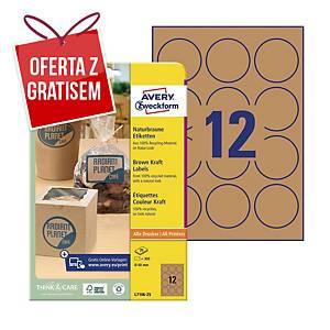 Brązowe etykiety na produkty Avery Zweckform, Ø60 mm, 300 etykiet
