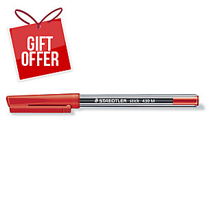 Staedtler Stick 430 Ball Point Red Pens 0.7mm Line Width - Box Of 10