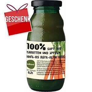 Zdravo natürlicher 100% Saft, Karotte - Apfel, 0,2 l, Packung mit 10 Stück
