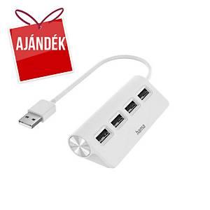 Hama 4 portos elosztó, USB 2.0, fehér