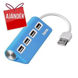 Hama 4 portos elosztó, USB 2.0, kék