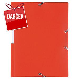 Obal na dokumenty s 3 chlopňami + gumička PP Lyreco A4 červený