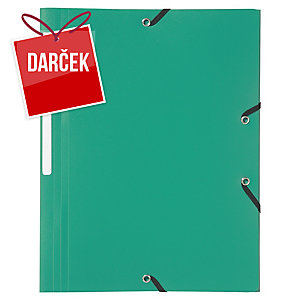 Obal na dokumenty s 3 chlopňami + gumička PP Lyreco A4 zelený