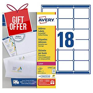 Avery L7161 laser labels Jam Free 63,5x46,6mm - box of 1800