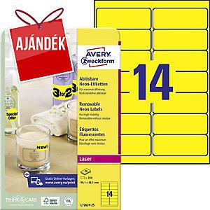 Avery L7263Y-25 neonsárga etikettek 99,1 x 38,1 mm, 14 etikett/ív, 25 ív/csomag