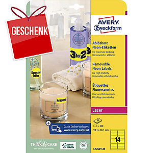 Etiketten Zweckform L7263Y, 99,1 x 38,1mm, gelb, 350 Stück
