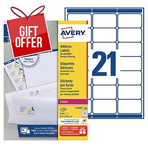 Avery L7160 laser labels Jam Free 63,5x38,1mm - box of 2100