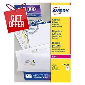 Avery L7160-100 Labels, 63.5 x 38.1 mm 21 Labels Per Sheet, 2100 Labels Per Pack