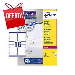 Caixa de 1600 etiquetas adesivas Avery L7162-100 - 99,1 x 33,9 mm - branco
