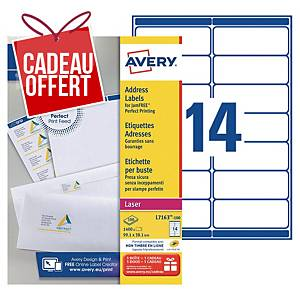 Etiquette adresse Avery - L7163-100 - 99,1 x 38,1 mm - blanche - par 1400
