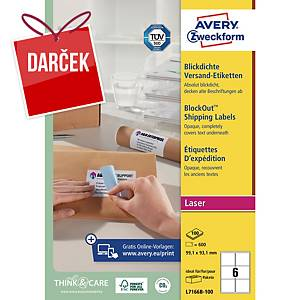 Krycie adresné etikety Avery Ultragrip, 99,1 x 93,1 mm, 6 ks/hárok