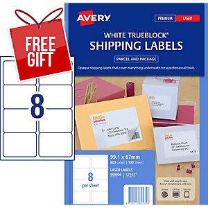 AVERY TRUEBLOCK SHIPPING LABELS, LASER PRINTERS, 99.1X67.7MM, 800 LABELS L7165