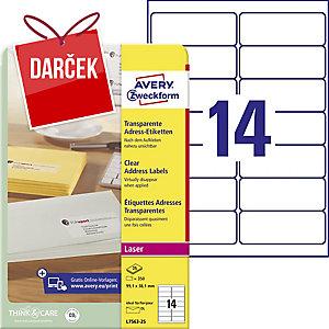 Priehľadné listové etikety Avery, 99,1 x 38,1 mm, 14 ks/hárok, L7563-25