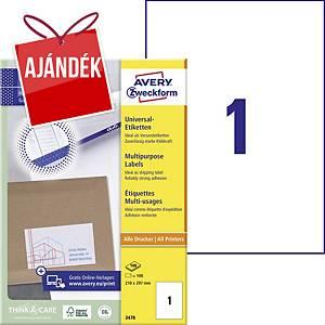 Avery Zweckform 3478 univerzális etikettek 210 x 297 mm, 1 etikett/ív, 100 ív