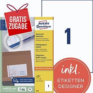 Universal-Etiketten Avery Zweckform 3478 210x297mm weiß 100 Blatt/100 Stück